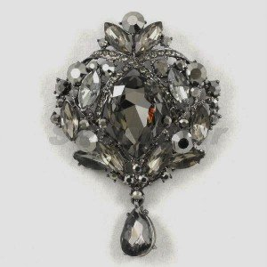 "Fashion Black Flower Brooch Pin 3.5"" Drop Rhinestone Crystals Pendant 4082"