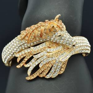 Fashion Clear Rhinestone Crystals Tail Steed  Horse Bracelet Bangle Gold Tone