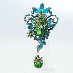 Art Deco Flower Teardrop Pendant Brooch Pin Green Rhinestone Crystal 6301