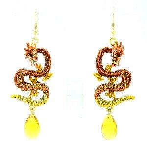 Rhinestone Crystals Animal Pierced Brown Dragon Drop Dangle Earring For Women