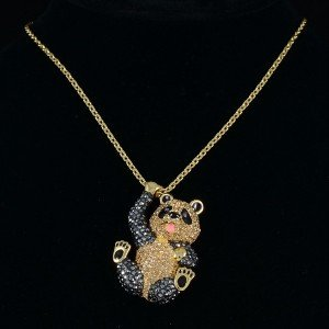 Cute High Quality Kung Fu Panda Necklace Pendant W/ Brown Swarovski Crystals
