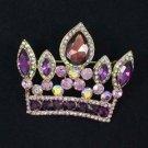 "Pendant Crown Brooch Broach Pin W/ Purple Rhinestone Crystals 2.3"" 5050"