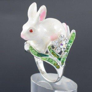 White Enamel Animal Bunny Rabbit Cocktail Rings Jewelry Swarovski Crystal USA:7#