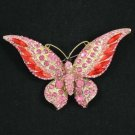 Charming Insect Butterfly Pin Brooch Red Rhinestone Crystal 4538