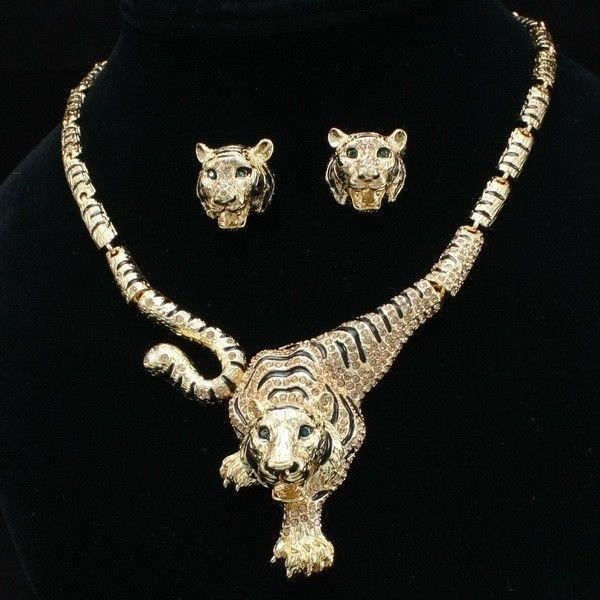 Swarovski Crystal Topaz Tigeress Tiger Animal Necklace Earring Set SNA2925