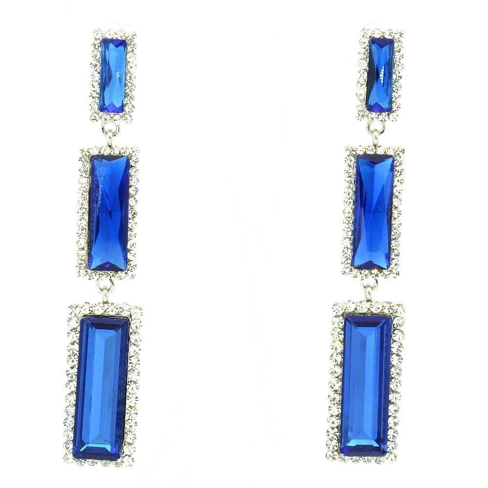 New Design Blue Oblong Dangle Earrings Rhinestone Crystals Art Deco 141232