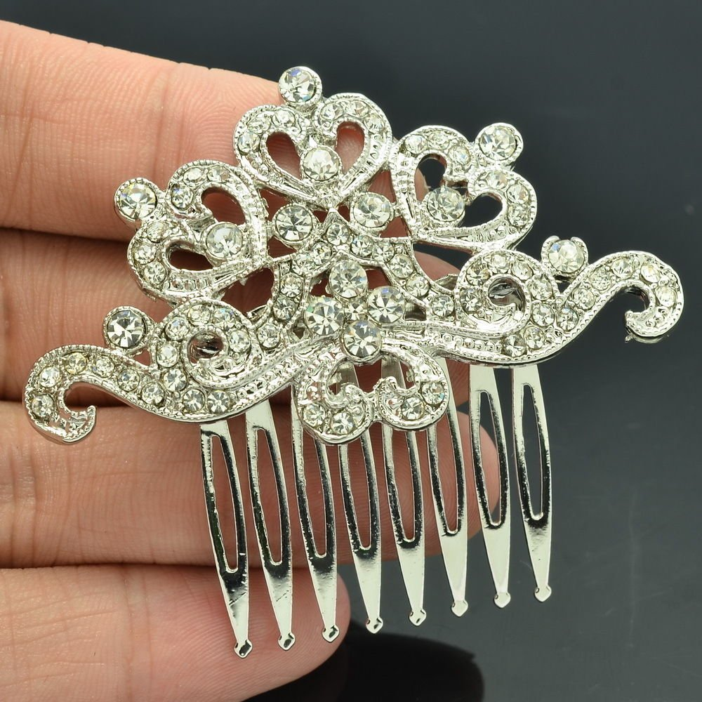 Rhinestone Crystals Flower Hair Comb Women's Hair Accessories Sliver Tone XBY019