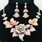 Multicolor Rose Flower Necklace Earring Set Enamel Swarovski Crystals SNA2807