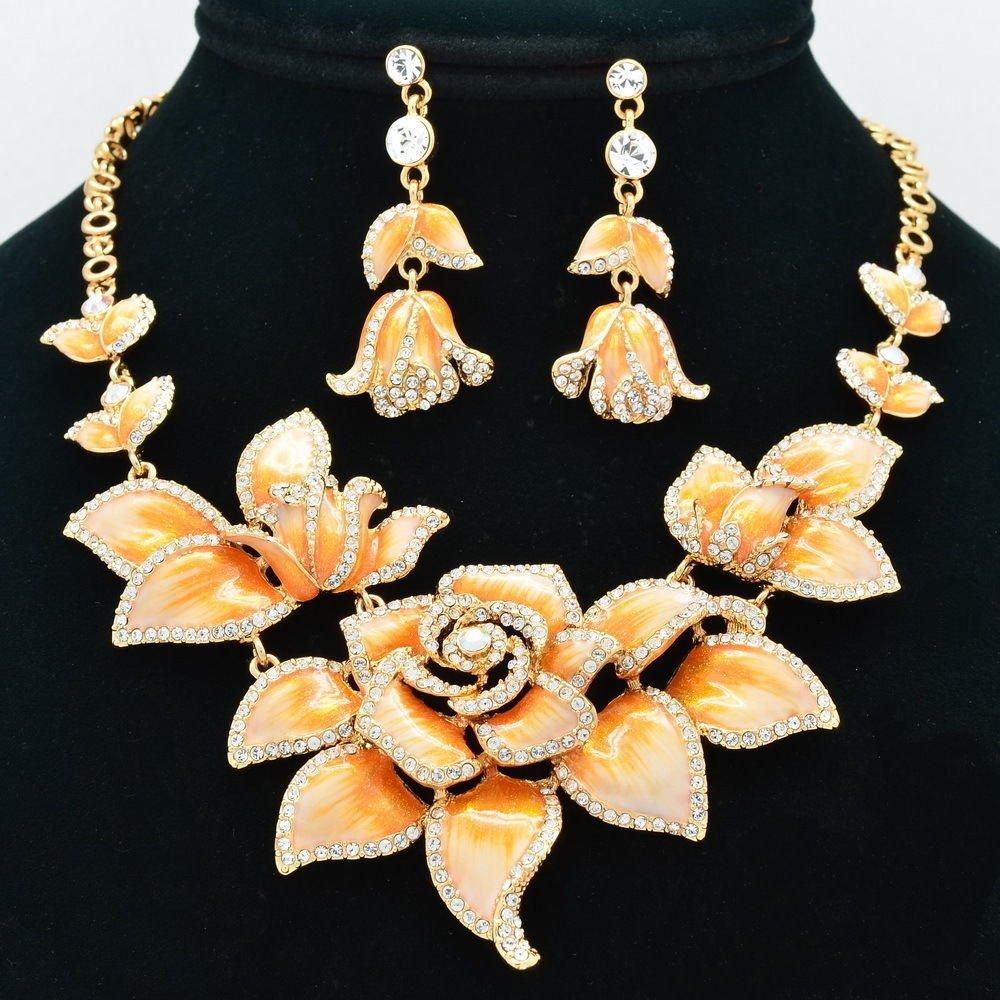 Luxury Orange Rose Flower Necklace Earring Set Enamel Swarovski Crystal SNA2807