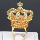 Swarovski Crystals Luxury High Quality Brown Crown Cocktail Ring Size 7# SR1950