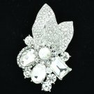 Wedding Leaf Floral Pendant Brooch Pin W/ Clear Oval Rhinestone Crystals 6416