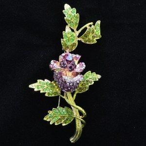 Retro Rhinestone Crystals Purple Rose Flower Leaf Brooch Broach Pins Women 4754