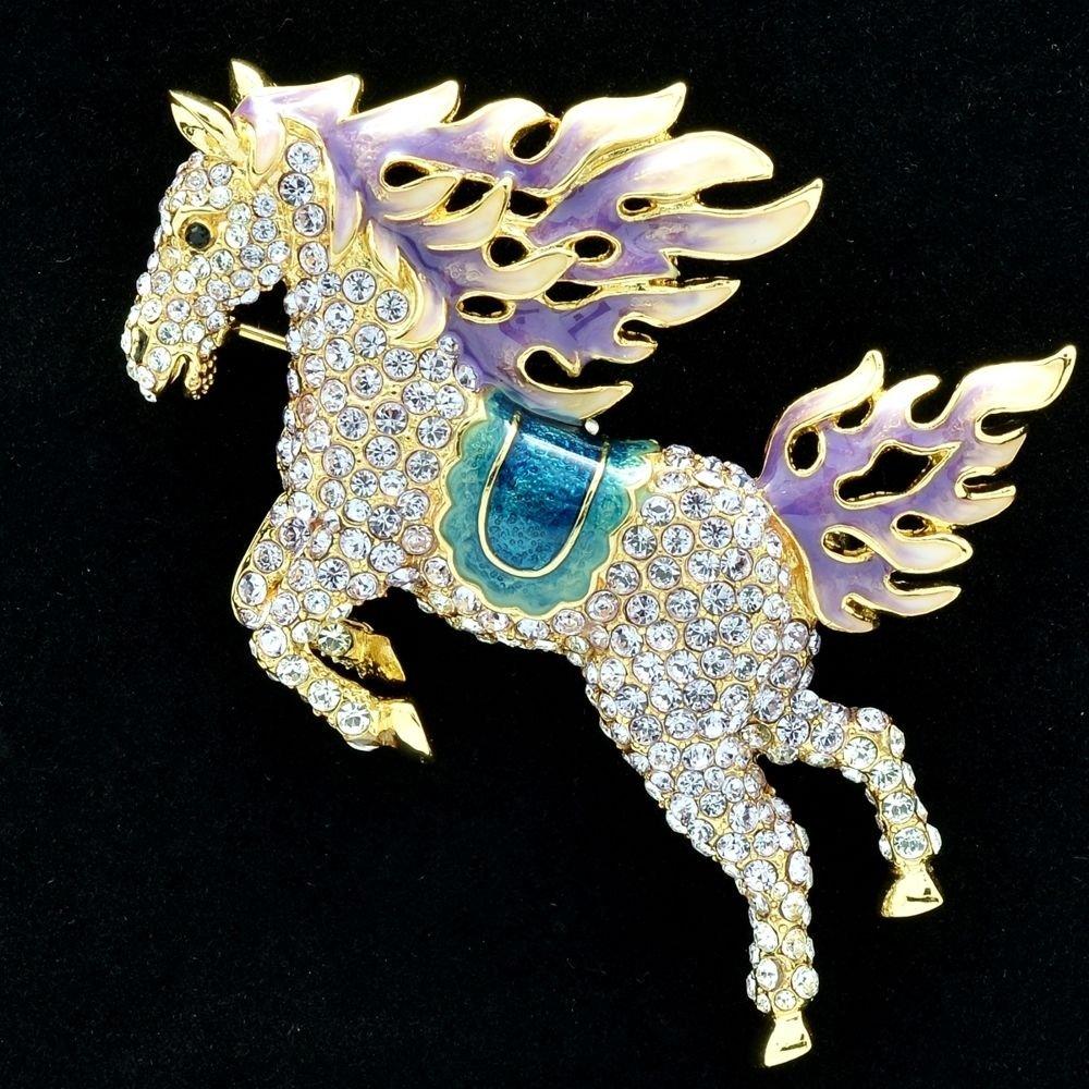 Hi-Q Animal Purple Horse Pegasus Brooch Broach Pins Swarovski Crystals SBA4512