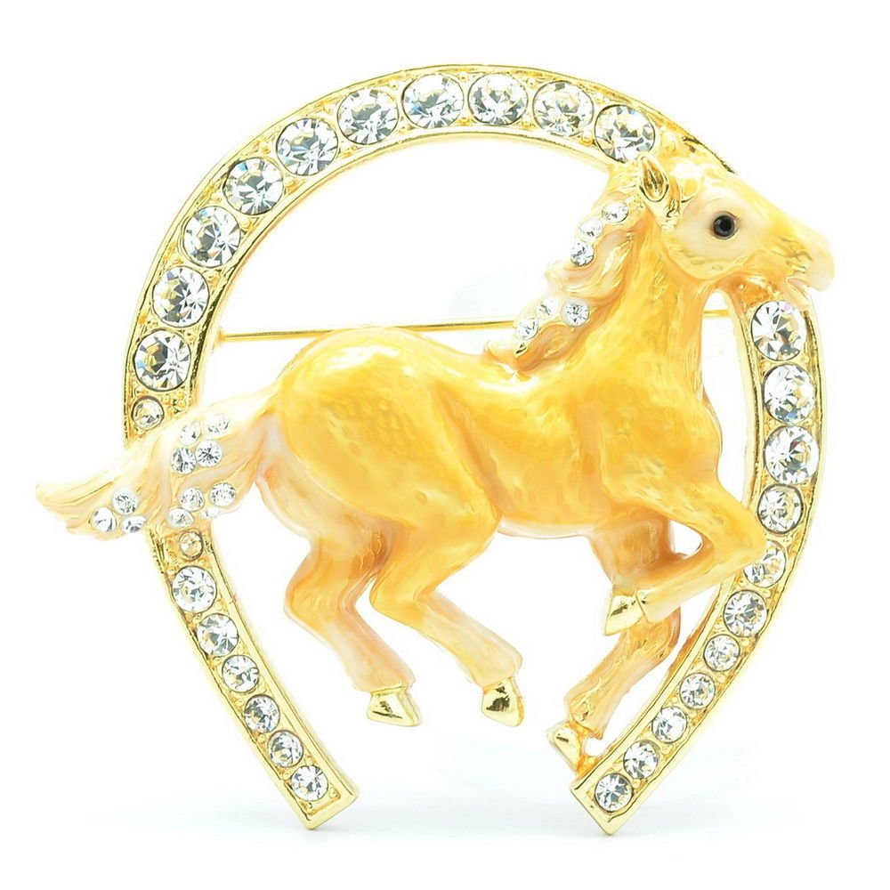 Excellent Swarovski Crystals Yellow Enamel Horseshoe Horse Brooch Broach Pin