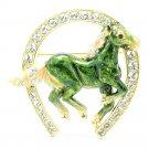 Excellent Swarovski Crystals Green Enamel Horseshoe Horse Brooch Broach Pin