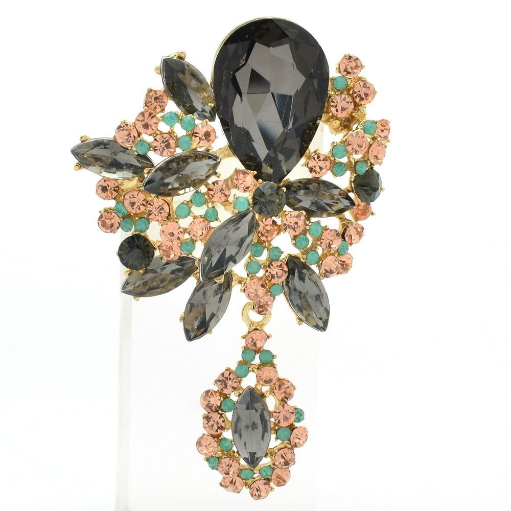 "Brown Rhinestone Crystals Gray Drop Flower Brooch Broach Pins 3.2"" Pendant 6416"