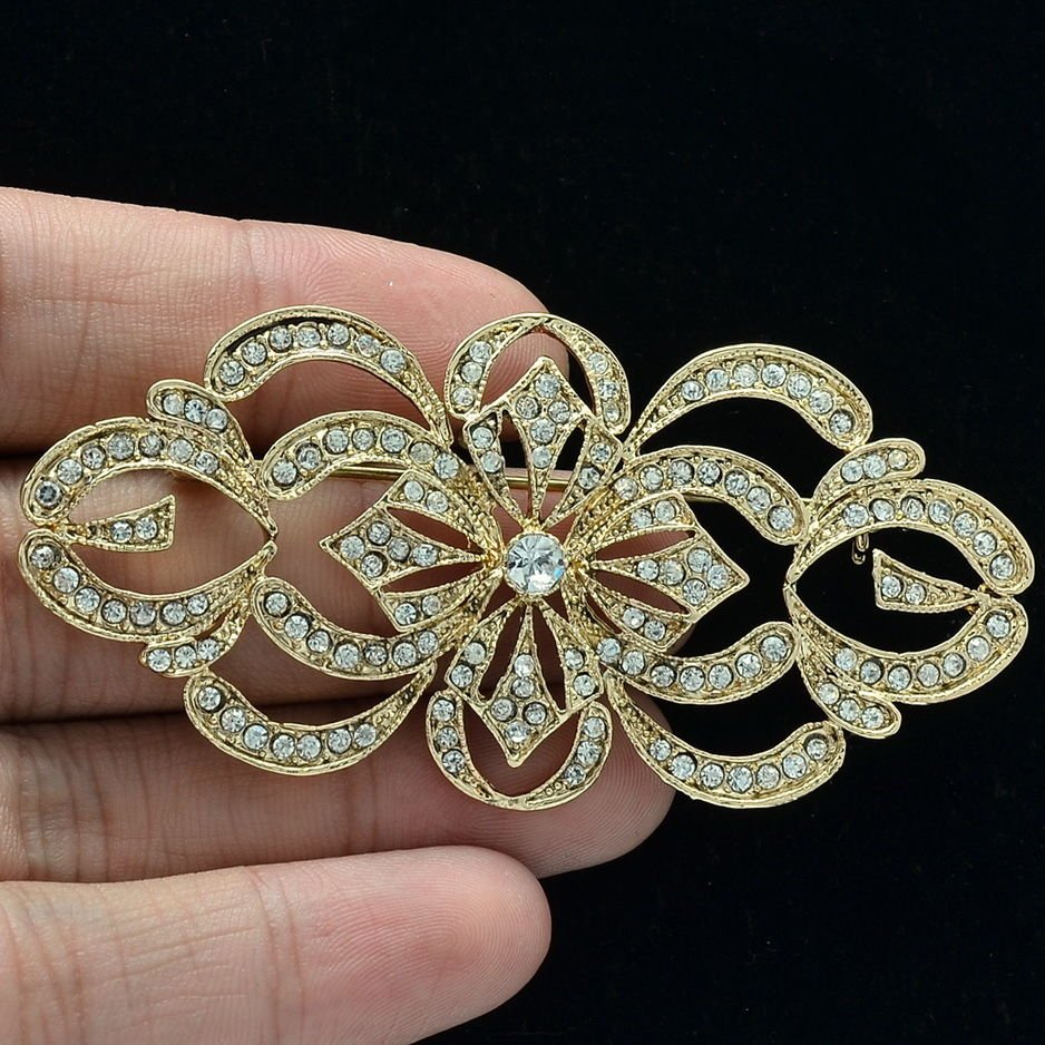 Beautiful Gold Flower Brooch Broach Pins Rhinestone Crystal Women Jewelry XBY123