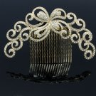 Big Gold Tone Flower Comb Headbands Rhinestone Crystals For Women Jewelry XBY074