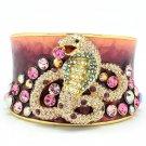 High Quality Pink Swarovski Crystals Enamel Snake Cuff Bracelet Bangle
