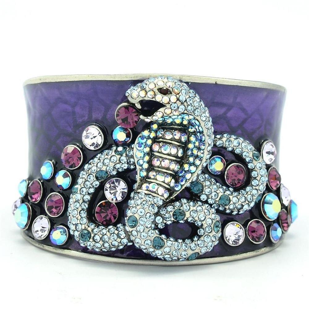 H-Quality Blue Swarovski Crystals Enamel Snake Bracelet Bangle Cuff SKA1871M