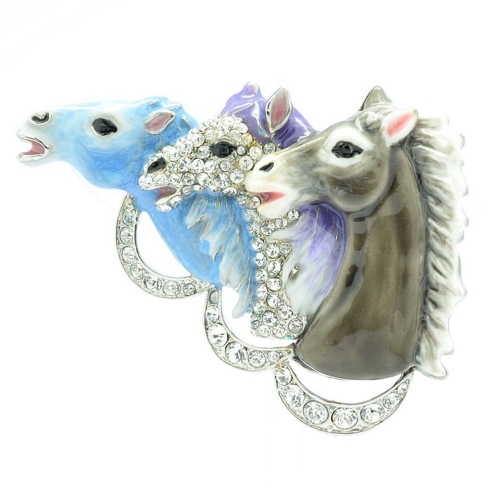 Hi-Quality Enamel Blue 3 Horses Brooch Broach Pin W/ Swarovski Crystals SBA4513