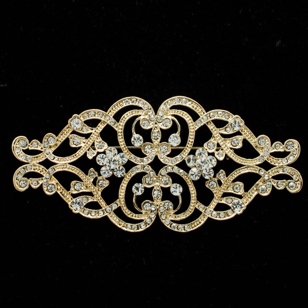 VTG Style Heart Flower Brooch Pin Rhinestone Crystal Women Party Jewelry XBY068