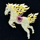 Hi-Q Animal Yellow Horse Pegasus Brooch Broach Pins Swarovski Crystals SBA4512