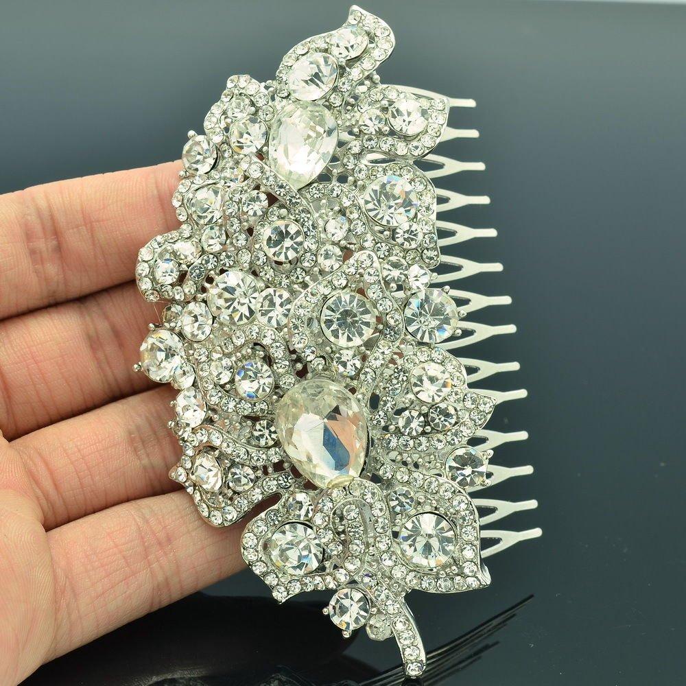Wedding Hair Accessories Clear Flower Comb Jewelry Rhinestone Crystals 5093