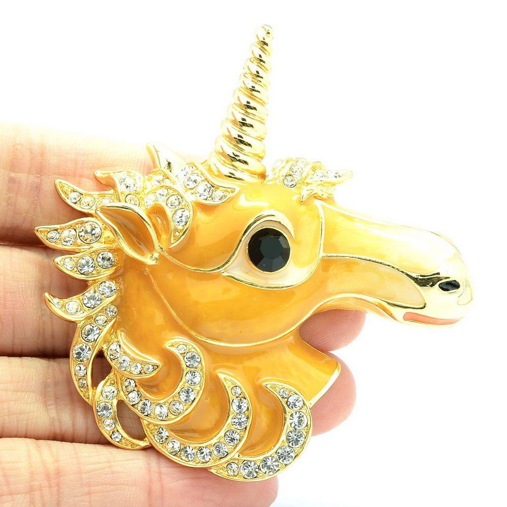 Dazzling Swarovski Crystal Yellow Horse Unicorn Brooch Broach Pins Jewelry 4514