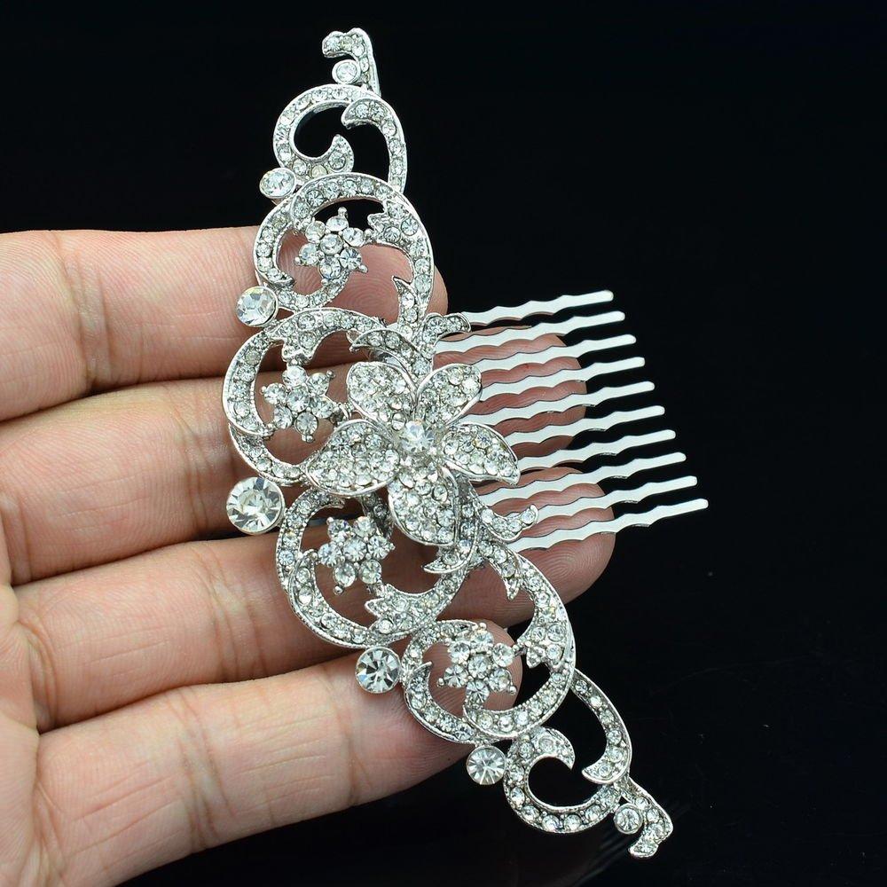 Clear Rhinestone Crystal Flower Floral Hair Comb Wedding Bridal Accessories 2940