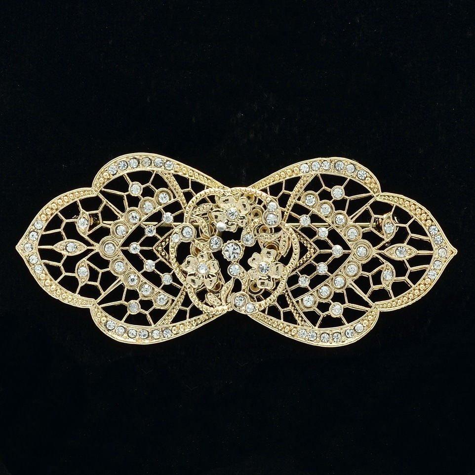 Chic Palace Flower Floret Bud Brooch Pin Rhinestone Crystal Women Jewelry XBY143