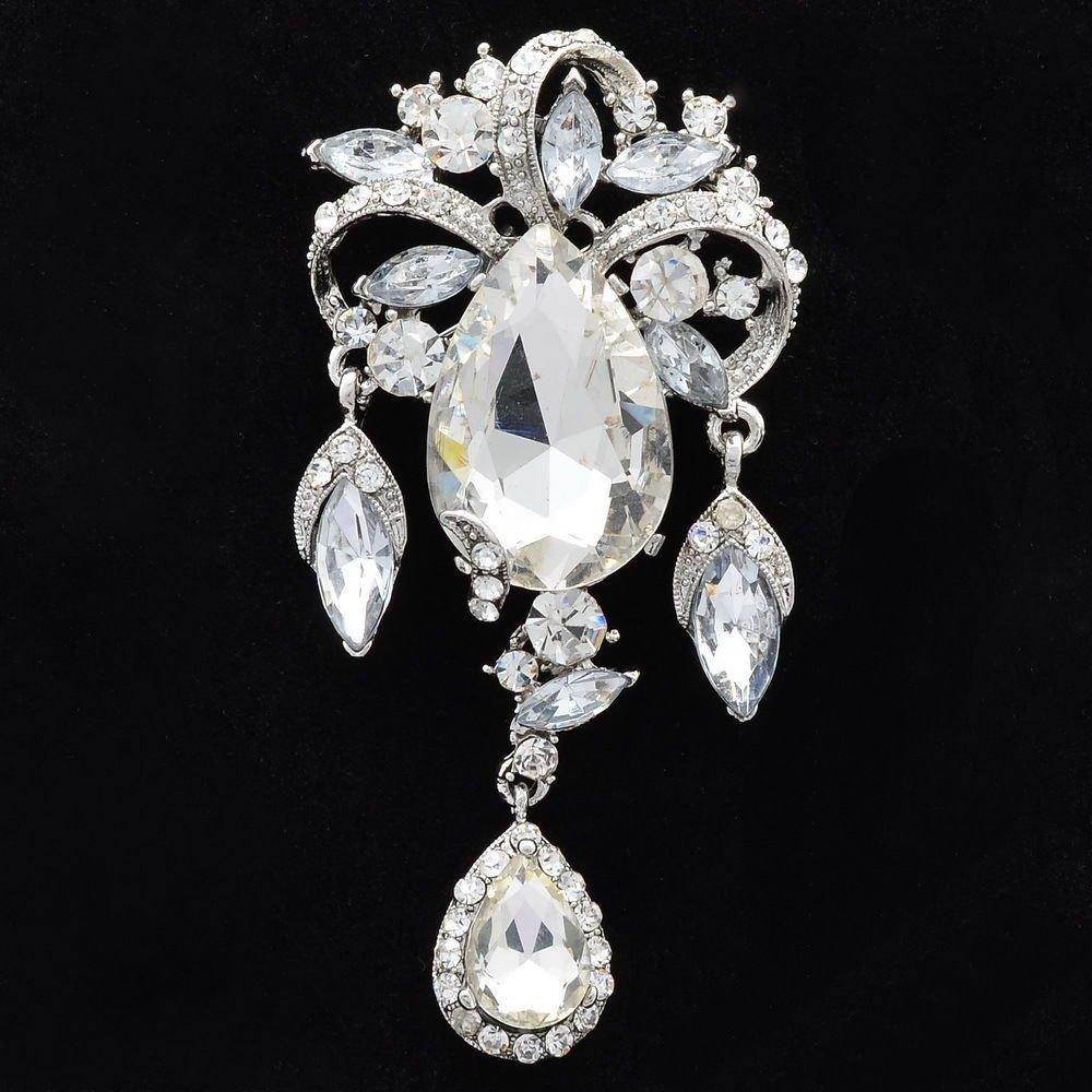 Clear Rhinestone Crystal Drop Flowers Brooch Pins Bridal Wedding Jewelry 4803