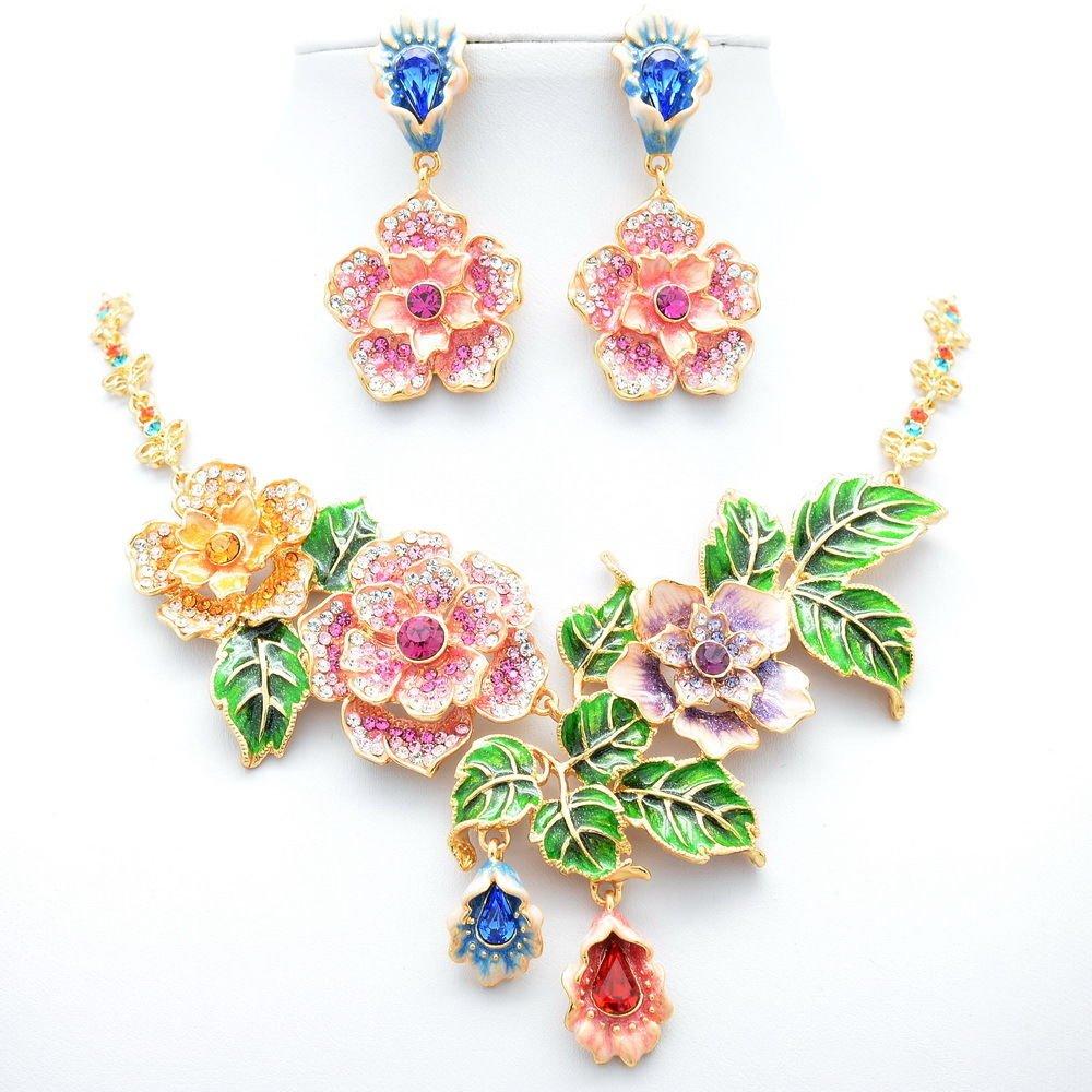 Enamel Rose Flower Necklace Earring Jewelry Sets Mix Swarovski Crystals JNA1849
