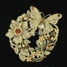 Exquisite Leaf Flower Butterfly Costume Brooch Pin Brown Rhinestone Crystal 4489