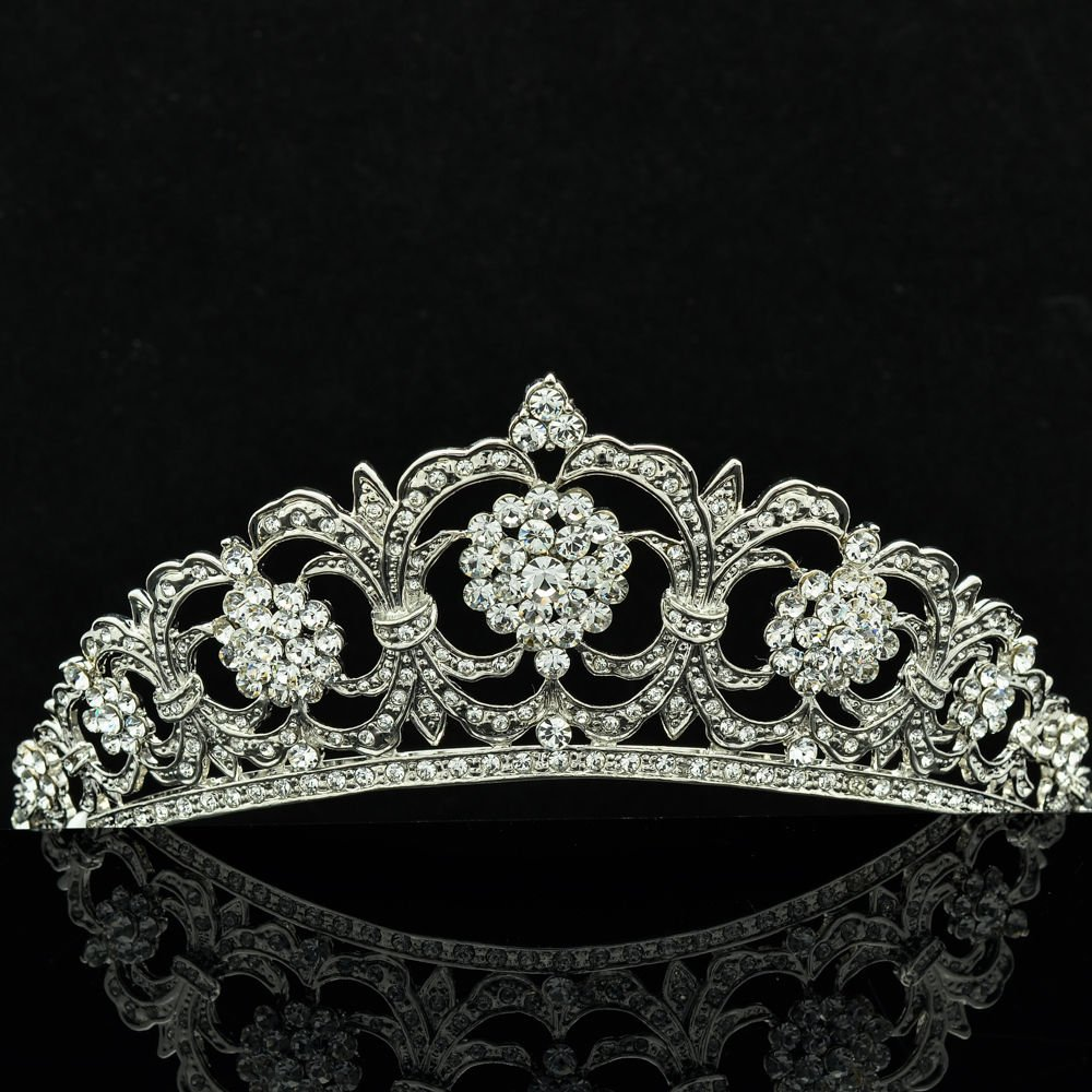 Noble Wedding Bridal Apple Sculpt Flower Tiara Crown Swarovski Crystal JH6485