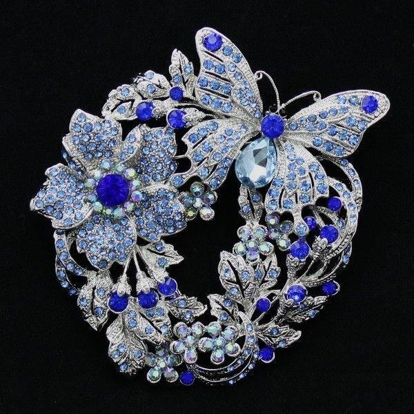 Dazzling Blue Flower Butterfly Brooch Broach Pin Rhinestone Crystal Jewelry 4489