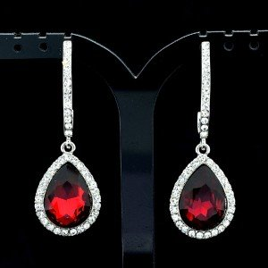 Chic Red Water Drop Pierced Dangle Earring Clear Rhinestone Crystal