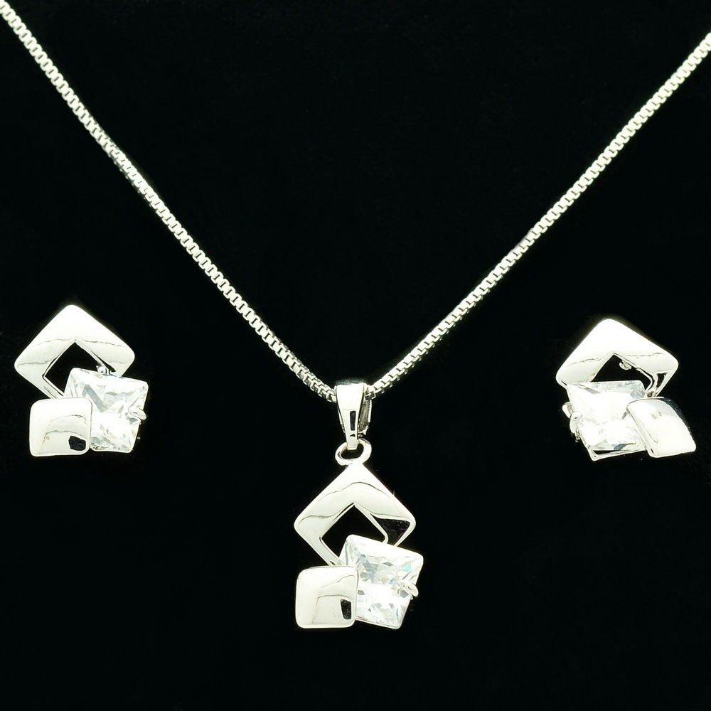 Zircon AAA+ Flower Bridal Necklace Earrings Sets Silver Tone Wedding Jewelry