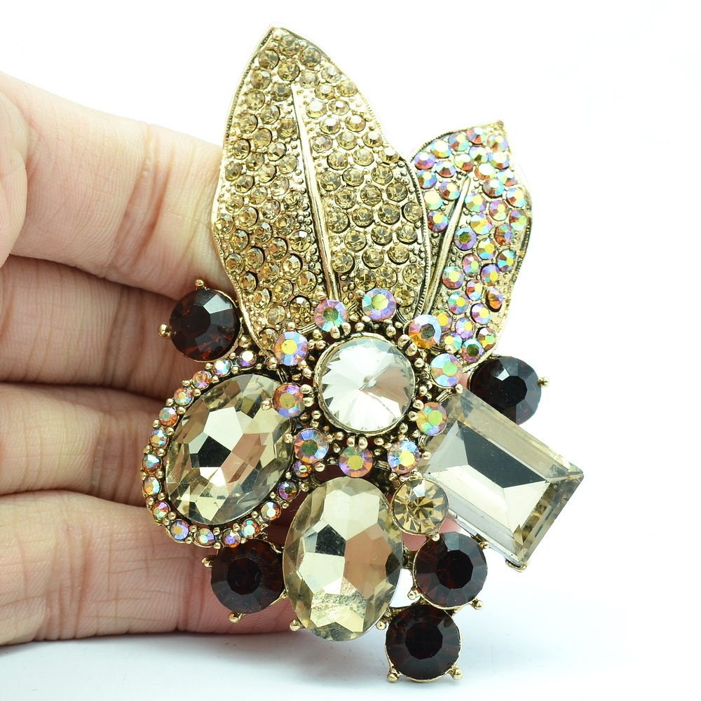 Gorgeous Leaf Floral Pendant Brooch Pin W/ Brown Oval Rhinestone Crystals 6416