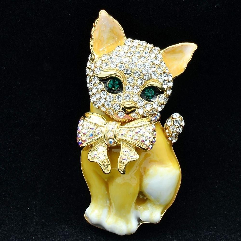 Cute Yellow Kitty Cat Brooch Broach Pins Women Jewelry Swarovski Crystal SBA4525