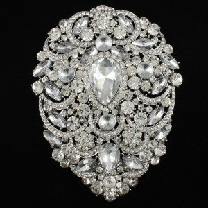 Swarovski Crystal Big Drop Clear Flower Pendant Brooches Pins Wedding Women 4.9""
