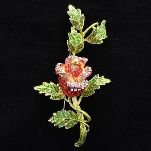 "4.5"" Pretty Rhodium Crystals Pink Red Flower Leaf Brooch Pin 4754"