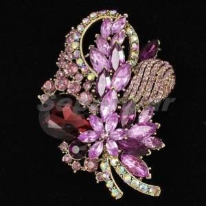 "Retro Bouquet Flower Brooch Pin 3.5"" Purple Rhinestone Crystals 4622"