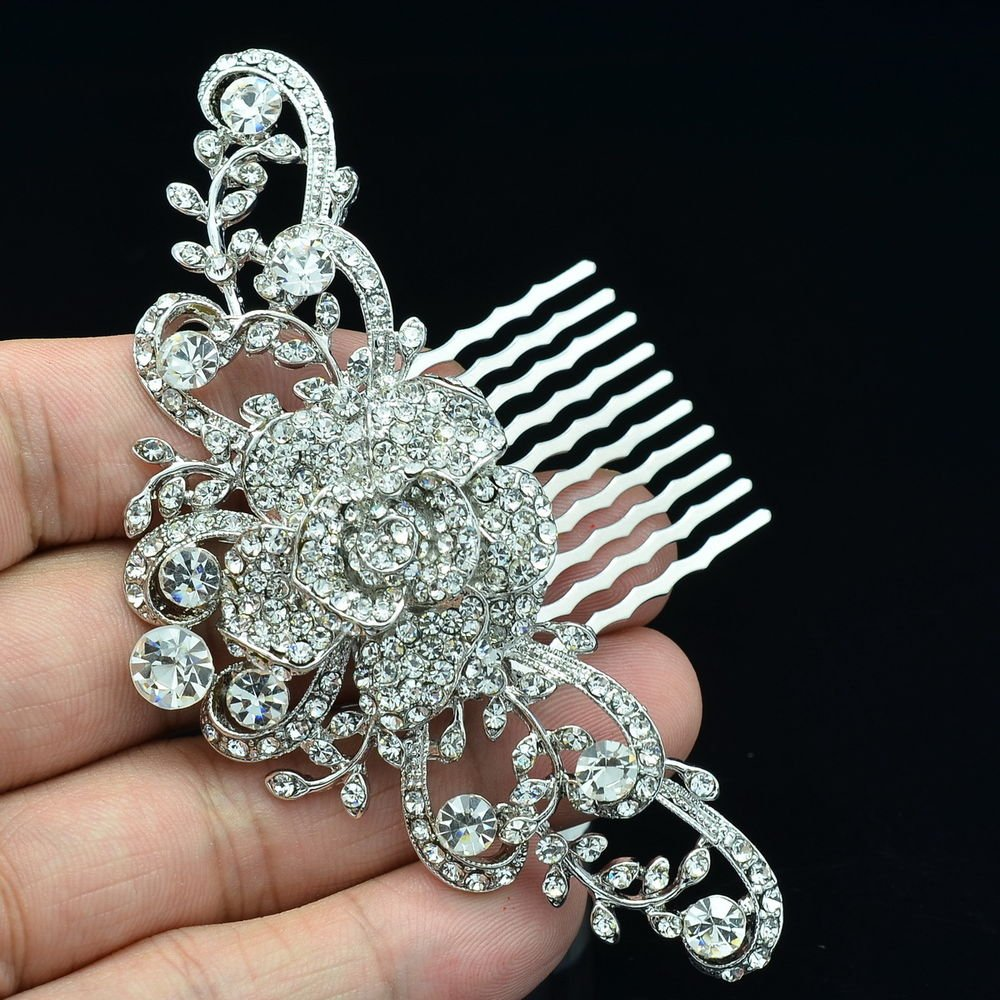 Bridal Princess Wedding Rose Flower Hair Comb Clear Rhinestone Crystals 2939FS