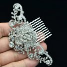 Bridal Princess Wedding Rose Flower Hair Comb Clear Rhinestone Crystals 2939FS