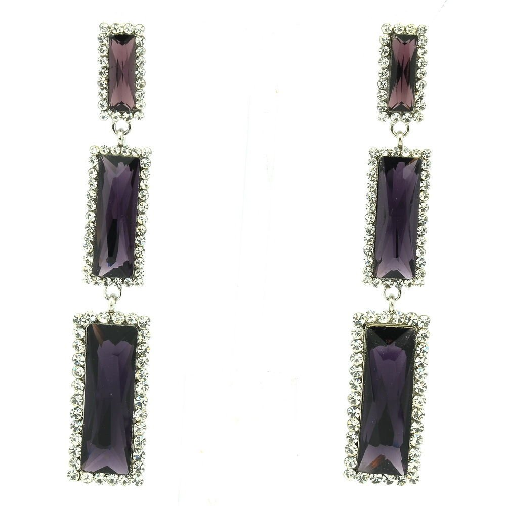 New Design Oblong Dangle Earrings Purple Rhinestone Crystals Art Deco 141232