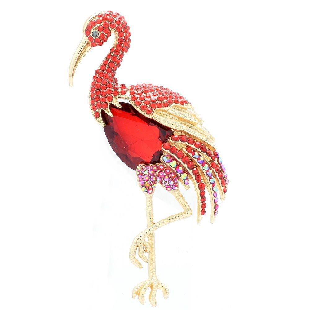 "Party Animal Rhinestone Crystal Red Drop  Bird Flamingo Brooch  Pins 4.0""  04672"