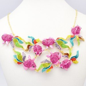 Unique Cute Multicolor 7 Goldfish Fish Necklace Pendant Swarovski Crystals