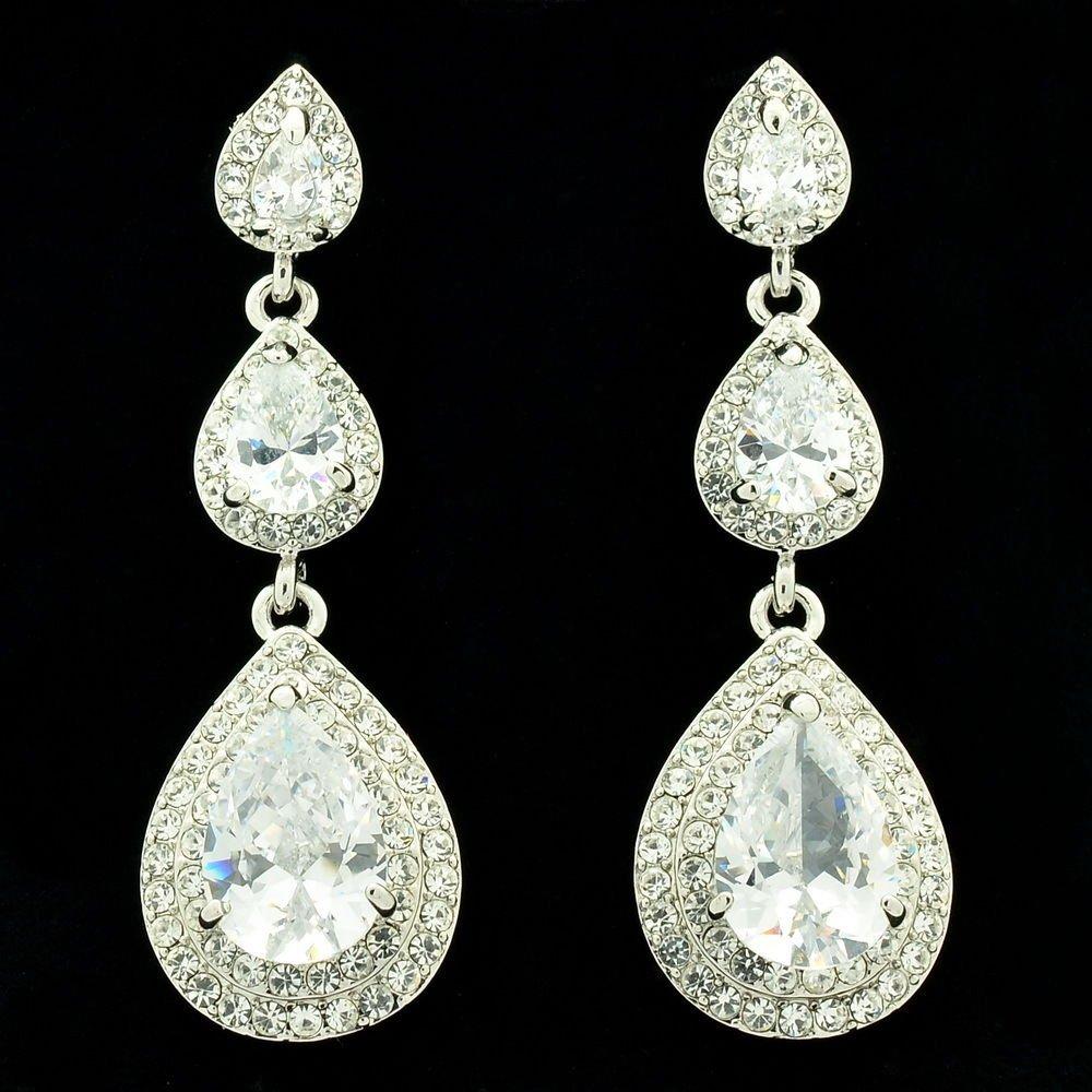 Bridal Wedding Zircons Dangle Drop Earring Women W Rhinestone Crystals 204880
