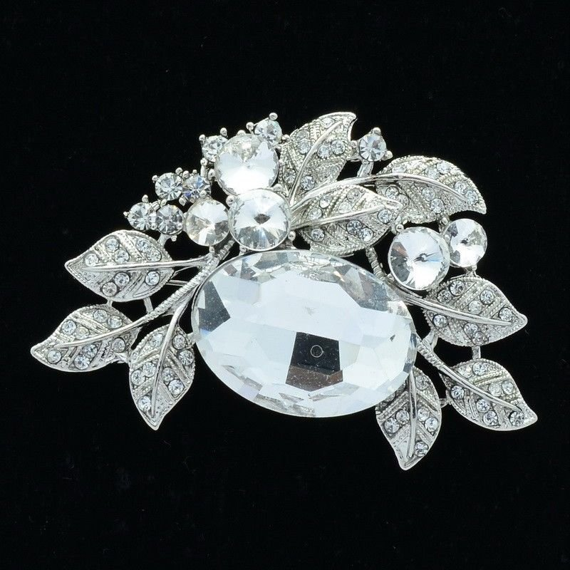 "Oval Rhinestone Crystal Bridal Multi Leaf Brooch Broach Pins Floral 2.6"" 6049"